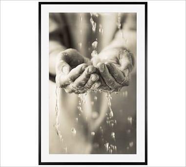 "Michal Venera Framed Print, Water Hands, Mat, 28 x 42"", Black traditional-artwork"