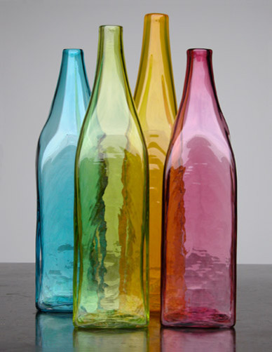 Elizabeth Lyons Glass Hand-blown Square Bottles contemporary-artwork