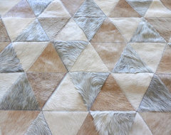 Beige Grey Cream Triangles Cowhide Patchwork Rugs - LIFESTYLE by Cara contemporary-rugs