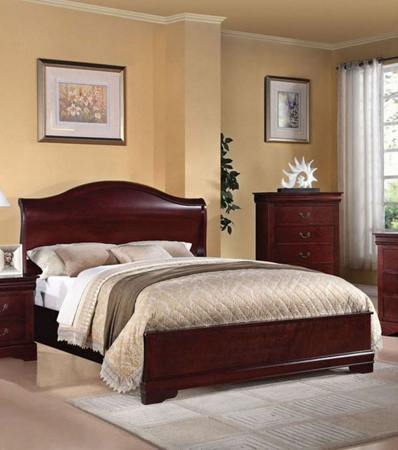 Acme Furniture Louis Phillipe Iii Cherry Finish Queen Sleigh Bed 21540q Traditional