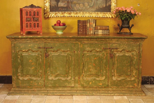 Carved and painted four-door Spanish colonial sideboard mediterranean-buffets-and-sideboards