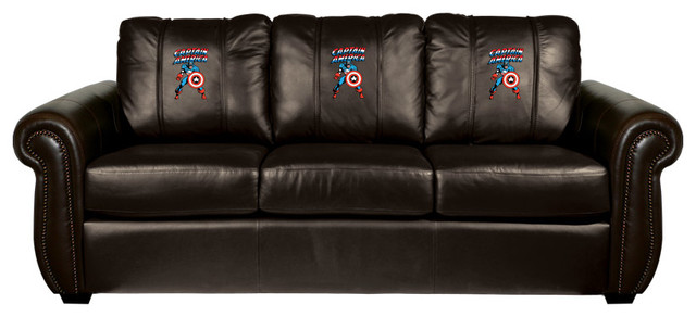 Captain America Battle Ready Chesapeake BLACK Leather Sofa traditional-sofas