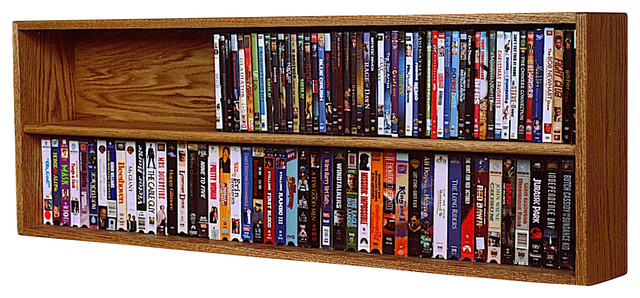 Solid oak wall or shelf mount dvd vhs tape book cabinet In wall dvd storage