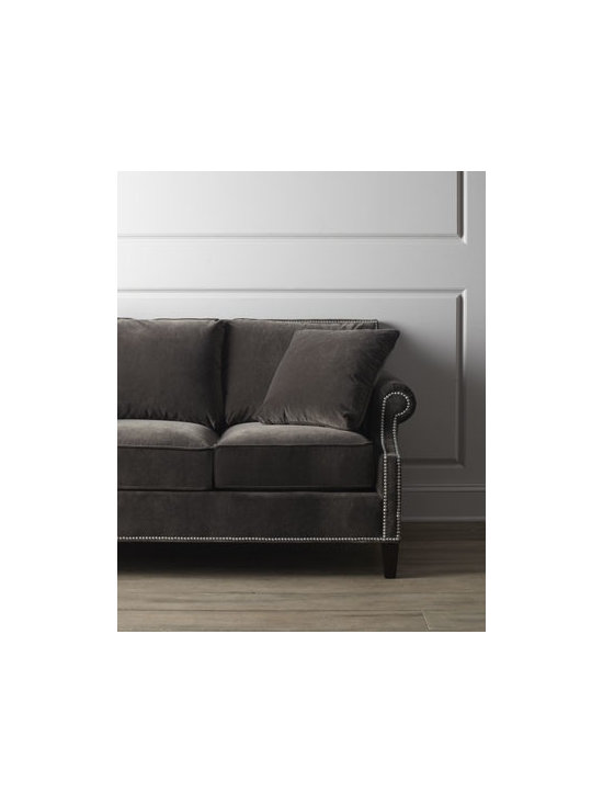 """Horchow - Glencrest Sofa - Sleek styling emanates from this sofa boasting feather and down seats and pillows. Studs embellish the metropolitan finish. Upholstered in polyester and cotton. Frame made of select hardwoods. 82""""W x 37""""D x 35""""T; seat, 20.5""""T. Handcrafted in the USA. Boxed weight, approximately 105 lbs. Pleas"""