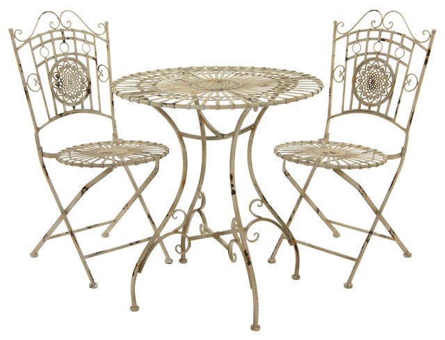 Rustic Metal Garden Table Set Distressed White