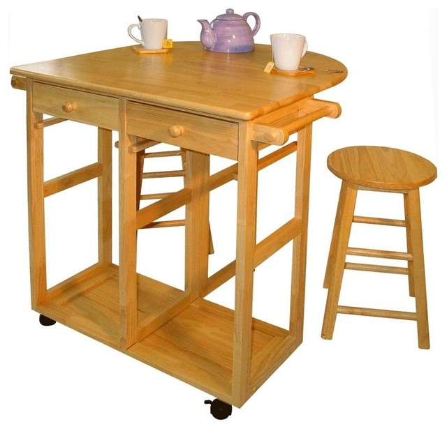 Mobile Breakfast Cart W Two Stools amp Drop Lea