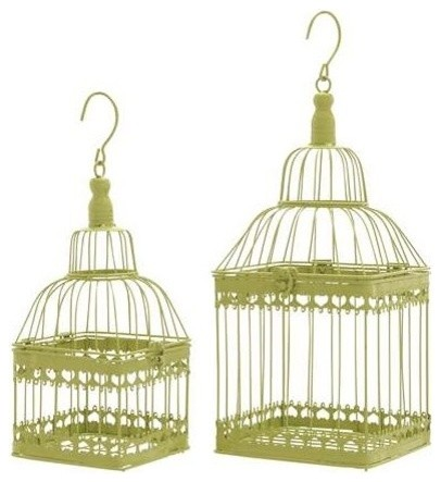 Bird Cage with Unique and Solid Design - Set of 2 transitional-birdhouses