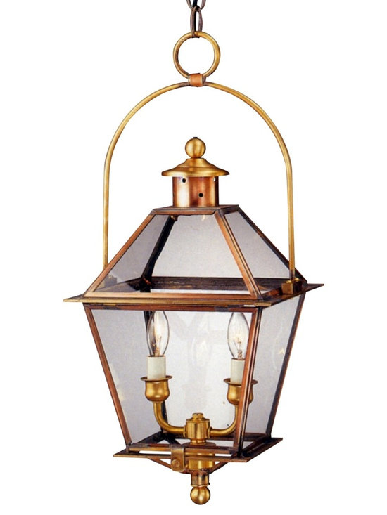 Lanternland - Carolina Colonial Hanging Copper Lantern with Bail by Lanternland - The Carolina Colonial Hanging Lantern with Bail, shown here in our Antique Copper finish with Clear glass, is handcrafted in America from the high quality brass and copper. Designed to last for decades and guaranteed for life, the Carolina Colonial Hanging Lantern with Bail by Lanternland will never rust or corrode. Available in your choice of five standard sizes, seven fabulous finishes and four glass options, this classic colonial style pairs well with traditional homes.