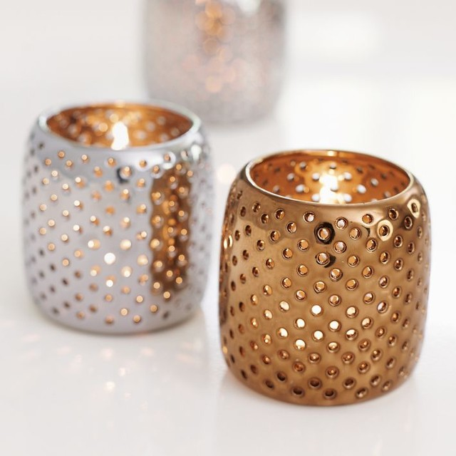 Perforated Metallic Tealight Holders traditional-candles-and-candleholders