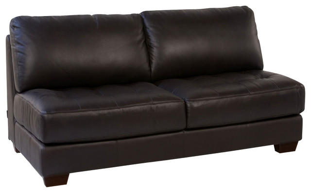 Diamond sofa zen collection armless all leather tufted for Traditional tufted leather sofa