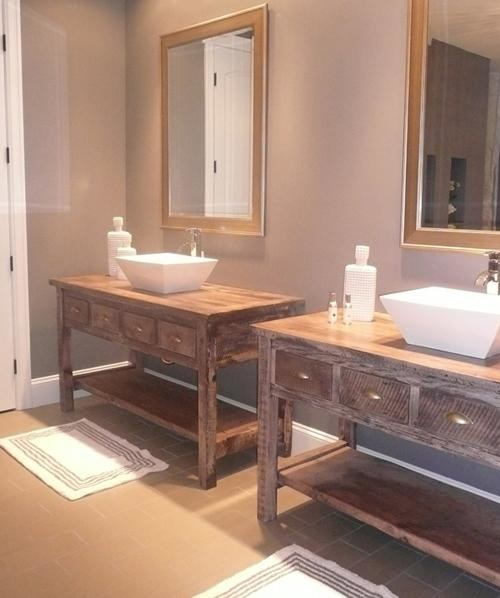 Reclaimed Wood Vanity With Shelf Traditional Bathroom Vanities And Sink Consoles By