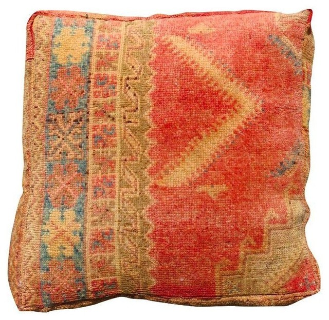 Vintage Floor Pillows : Pre-owned Tan & Red Vintage Moroccan Floor Pillow - Rustic - Floor Pillows And Poufs - by Chairish