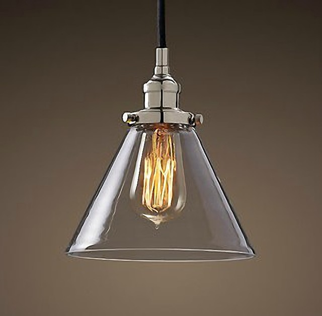 Pendant lighting antique glass : Antique chrome cap glass pendant lighting contemporary