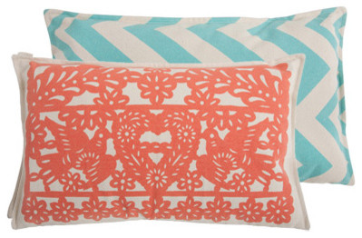 Thomas Paul Banner Coral Cotton Pillow contemporary pillows