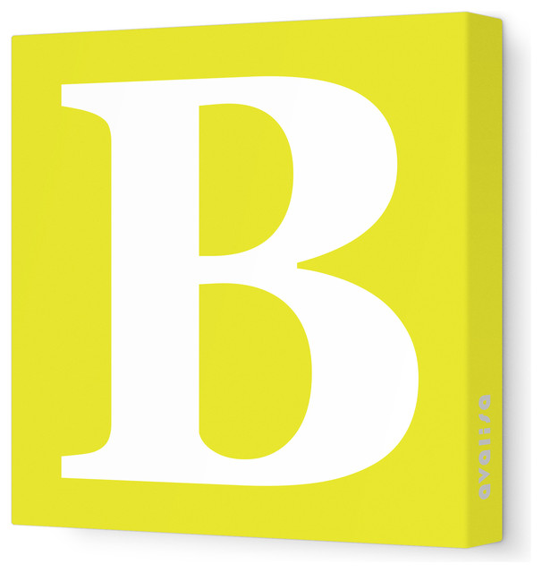 """Letter - Upper Case 'B' Stretched Wall Art, Yellow, 18"""" x 18"""" modern-wall-letters"""