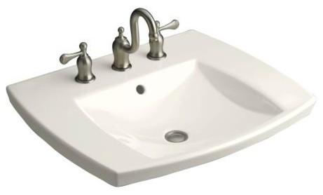 "KOHLER K-2381-8-96 Kelston Self-Rimming Lavatory Basin with 8"" Centers contemporary-bathroom-sinks"