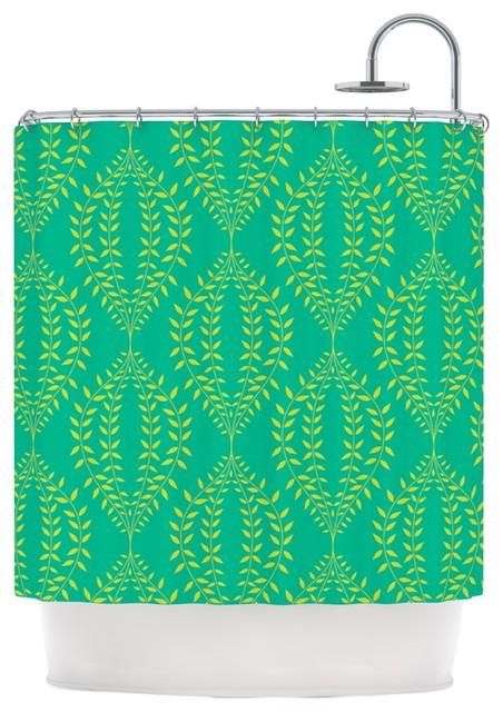 Anneline Sophia Laurel Leaf Green Teal Floral Shower Curtain Modern Shower Curtains By