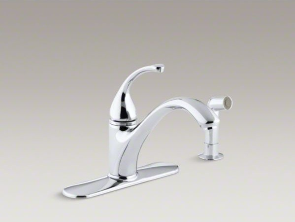 """KOHLER Fort�(R) 4-hole kitchen sink faucet with 9-1/16"""" spout, matching finish s contemporary-kitchen-sinks"""