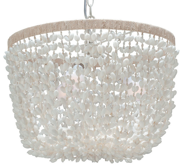 Inverted Pendant Lamp in Bubble Seashell, White beach-style-chandeliers