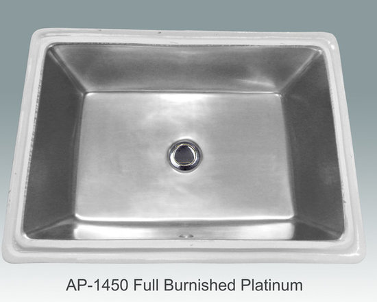 "Hand Painted Undermounts by Atlantis Porcelain - ""FULL BURNISHED PLATINUM"" Shown on white Ladena vanity undermount rectangular with overflow center drain I/D (19-1/2""W x 13-1/4""D x 6""depth). Available in bright gold or platinum and burnished gold or platinum on any of our white fixtures"