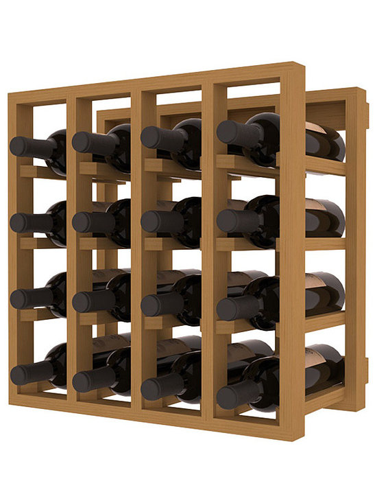 Lattice Stacking Wine Cubicle in Pine with Oak Stain - Designed to stack one on top of the other for space-saving wine storage our stacking cubes are ideal for an expanding collection. Use as a stand alone rack in your kitchen or living space or pair with the 20 Bottle X-Cube Wine Rack and/or the Stemware Rack Cube for flexible storage.