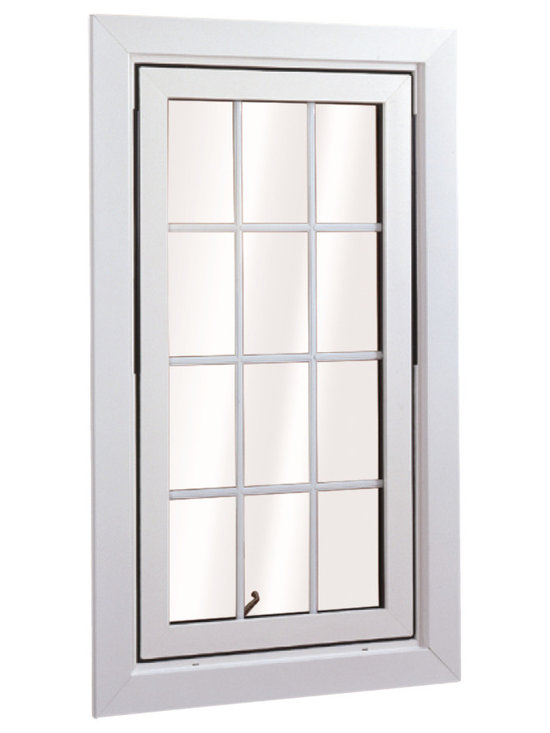 Flip & Wash Windows - Wellington Flip and Wash Window in Casement style; shown in White with grids.