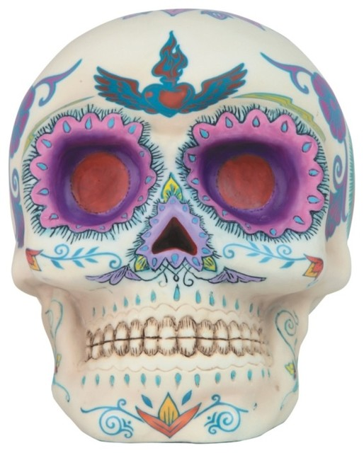 Inch day of the dead decorated traditional sugar - Sugar skull decorating ideas ...