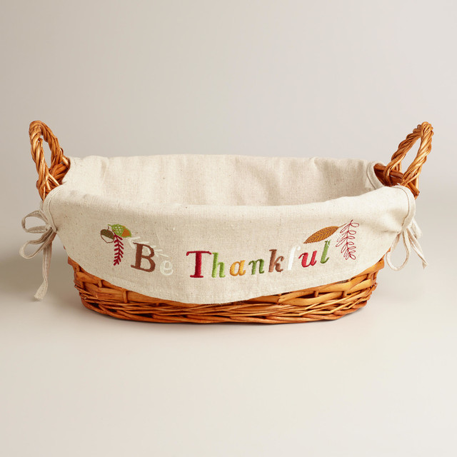 'Be Thankful' Harvest Lined Basket contemporary-holiday-decorations