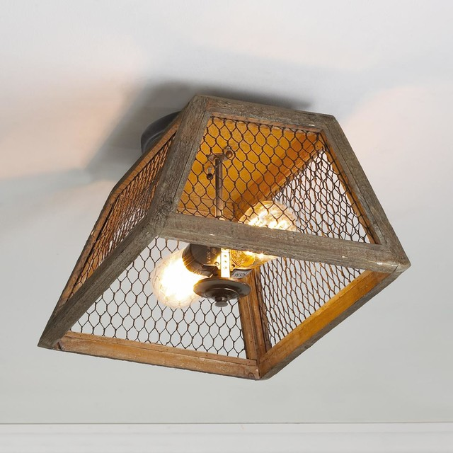 Chicken Wire Shade Ceiling Light - Flush-mount Ceiling Lighting - by Shades of Light