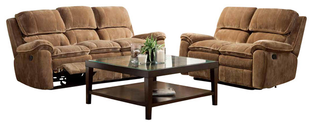 Homelegance Reilly 5-Piece Reclining Living Room Set in Brown Microfiber traditional-furniture