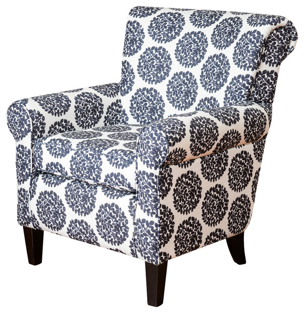 Roseville Club Chair Black and White Contemporary