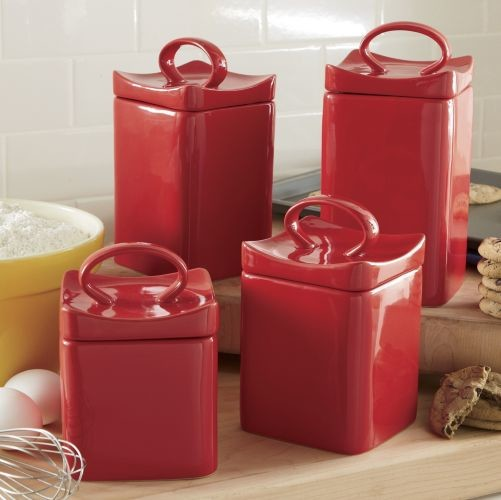 Cherry Red Ceramic Square Canister Set Modern Kitchen