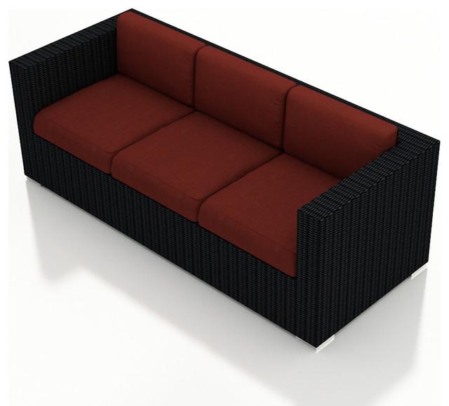Urbana Modern Wicker Sofa, Henna Cushions modern-outdoor-sofas
