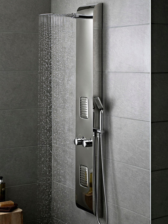 Hudson Reed - Chrome Thermostatic Shower Panel Tower System - Add the wow-factor to your bathroom with the stylish Hudson Reed Octavia thermostatic shower panel. Easy to install, this high quality shower panel delivers an amazing showering experience to awaken the senses. This thermostatic shower panel features two large body jets, shower handset and a fixed shower head. Hudson Reed Octavia Thermostatic Shower Panel Details   Two large body jets Shower handset Fixed shower head