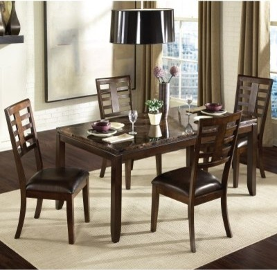 Standard Furniture Bella 5 Piece Dining Table Set with Faux Marble modern-dining-tables
