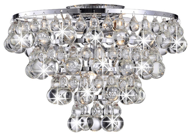 tranquil crystal bubble and chrome flush mount chandelier