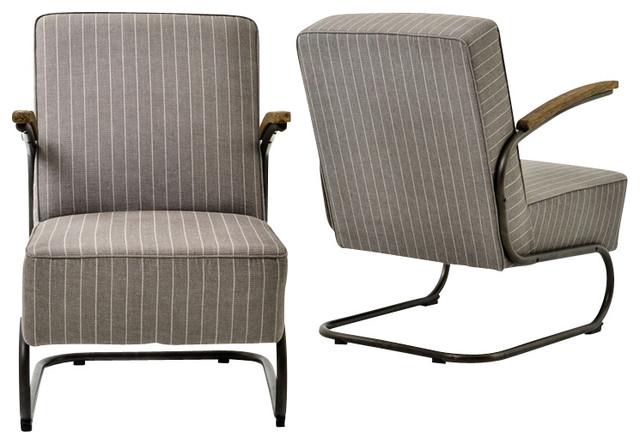 Miles Club Chair, Grey Stripe