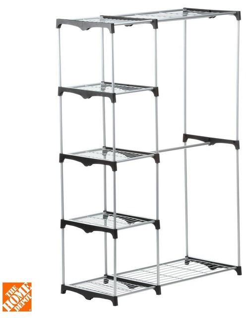 Honey-Can-Do Closet Organization Double Rod Freestanding Closet Silver and - Contemporary ...