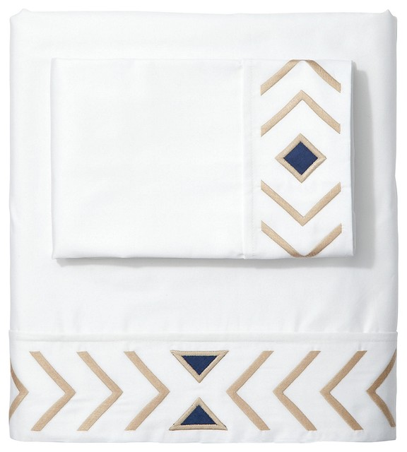 Sand/Navy Canyon Sheet Set contemporary-sheets
