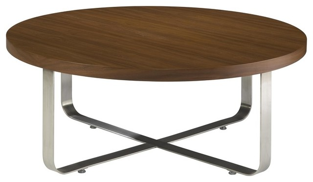 40 Inch Round Cocktail Table W Mocca On Oak Top Modern Coffee Tables