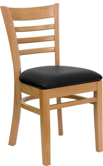 Natural Wood Finished Ladder Back Wooden Restaurant Chair with Black Vinyl Seat contemporary-chairs