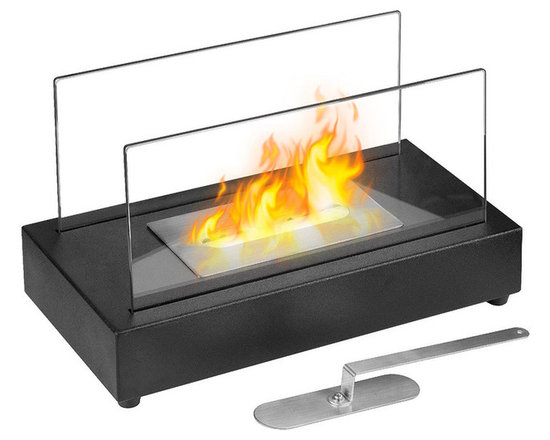 Moda Flame - Vigo Table Top Ethanol Fireplace - The Vigo versatile modern ethanol fireplace has a sleek design with glass panels that allow for maximum fire visibility. Portable and can be used both indoor and outdoor. Features a simple way to add fire to any setting. Place it in your existing masonry hearth as a replacement for a traditional log or gas fire or use it as a standalone.Burner: 1 x .6 Liter Dual Layer Burner made of 430 Stainless SteelDimensions: 13.97W x  8H x 7D inches / 35.5W x 20.5H x 18D cmWeight: 6.6 lbs / 3 kg