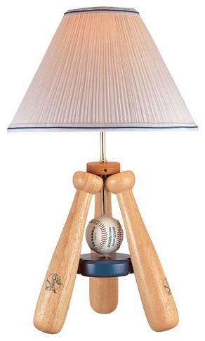Baseball Bat   Table Lamp in Natural Wood eclectic-table-lamps