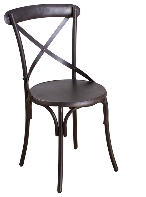 Metal Bistro Chair Single Zinc Finish Industrial