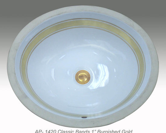 "Hand Painted Undermounts by Atlantis Porcelain - ""CLASSIC BANDS 1"""" Shown on AP-1420 white Monaco Medium undermount 17-1/4""x14-1/4""available on combinations of burnished gold or platinum and bright gold or platinum on any of our sinks."