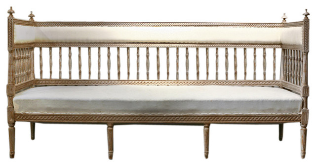 Swedish Antique Gustavian Painted Bench traditional-indoor-benches