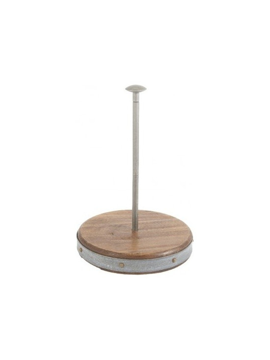 Vintage Wooden and Galvanized Metal Paper Towel Holder -