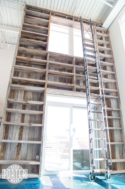 Bookcase reclaimed tobacco barn wood with rolling ladder - Reclaimed wood ladder shelf ...
