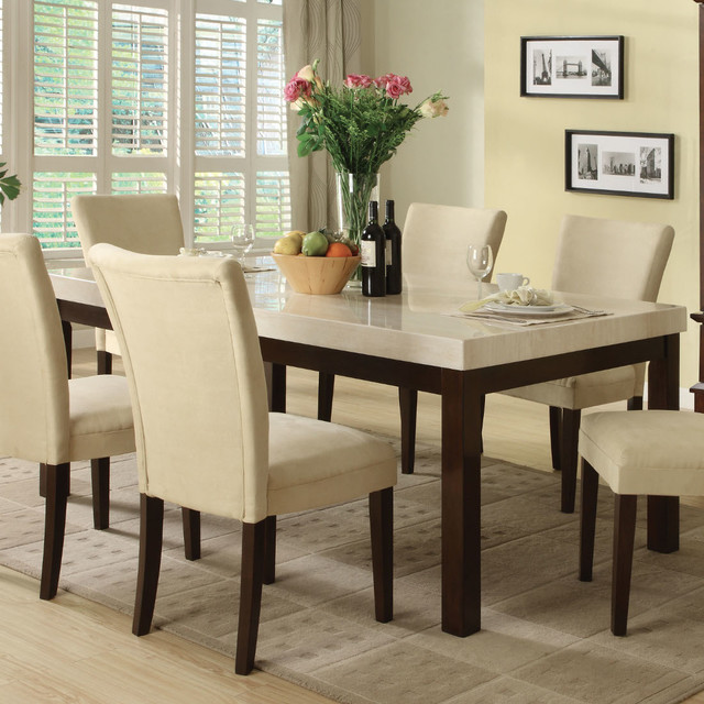Kyle Dining Table in Espresso Faux Marble Modern