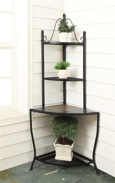 Metal Corner Baker S Rack W Slate Top Contemporary